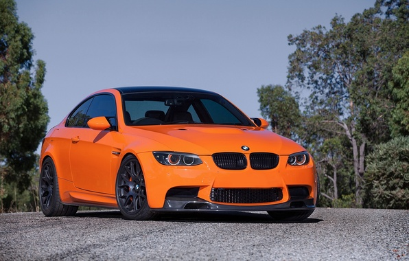 Picture the sky, trees, orange, tuning, bmw, BMW, coupe, tuning, orange, e92