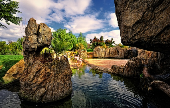 Picture the sky, water, clouds, trees, birds, pond, Park, stones, garden, Spain, Flamingo, valencia