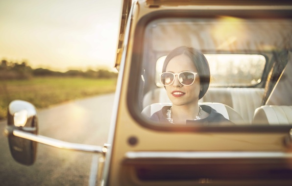 Picture road, glass, girl, the sun, Citroen, 2CV, rear