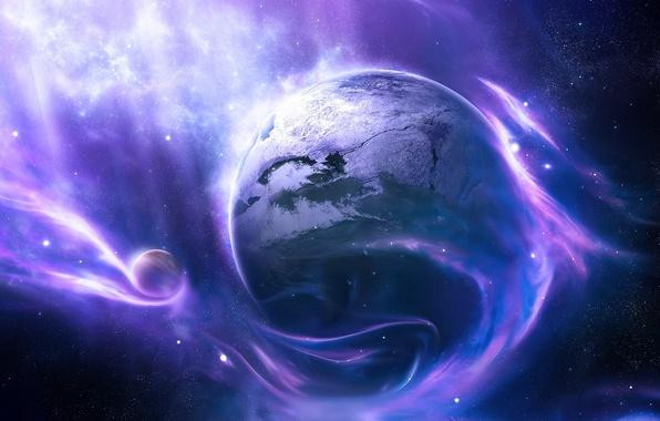 Picture colors, light, clouds, planet, Sci FI