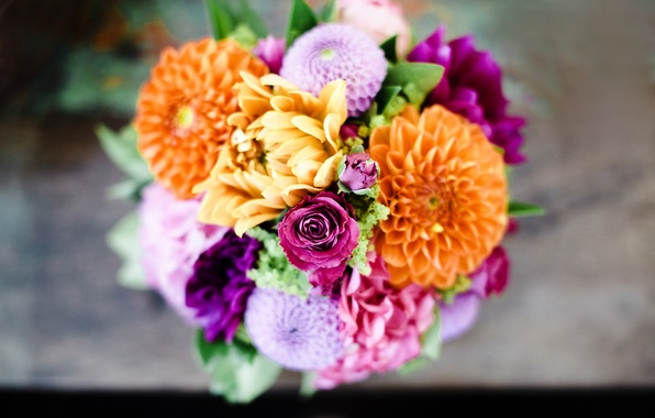 Picture flowers, roses, bouquet, pink, orange, lilac, dahlias