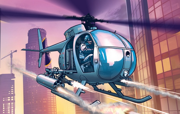 Picture the city, police, art, helicopter, Los Santos, Grand Theft Auto 5
