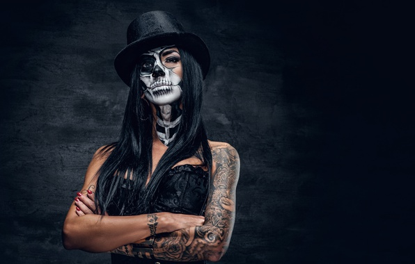 Picture woman, look, tattoos, female, makeup, day of the dead, brazos