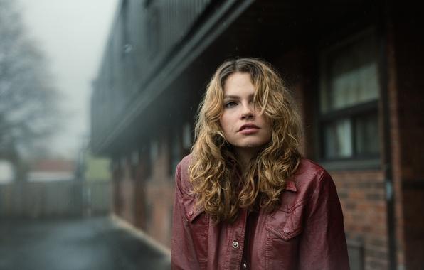 Picture look, girl, drops, face, rain, jacket, Nola