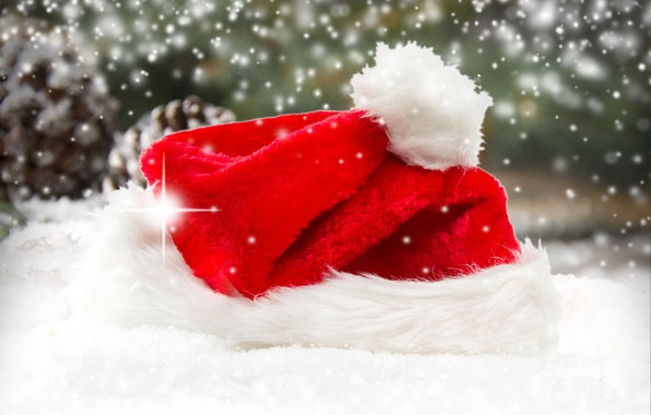 Picture New Year, Christmas, Christmas, hat, winter, snow, Santa, Merry, decoraton