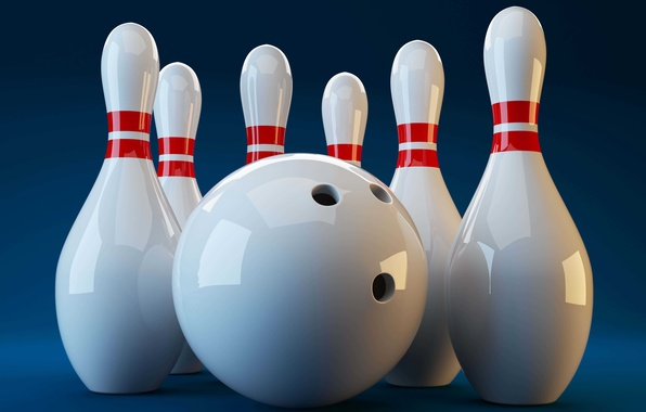 Picture white, rendering, sport, ball, visualization, background, skittles, blue, bowling, 3d.