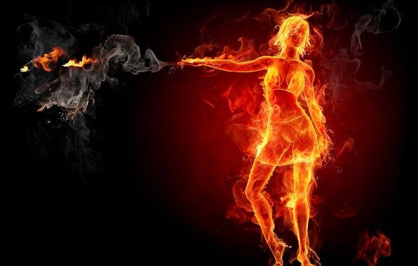Picture girl, smoke, Fire