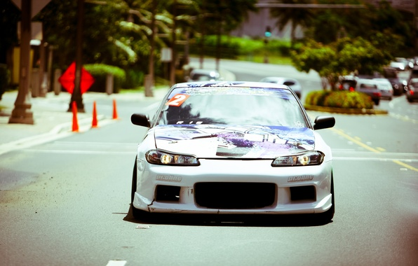 Picture tuning, white, S15, Silvia, Nissan, white, Nissan, tuning, the front, Sylvia