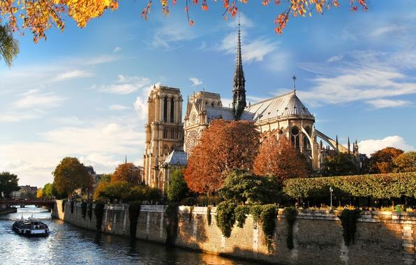 Picture autumn, bridge, nature, the city, river, France, Paris, Hay, Paris, architecture, Notre Dame Cathedral, France, …