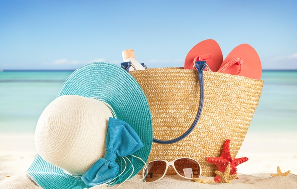 Picture sand, sea, beach, summer, the sun, stay, hat, glasses, summer, bag, beach, vacation, sea, sun, …