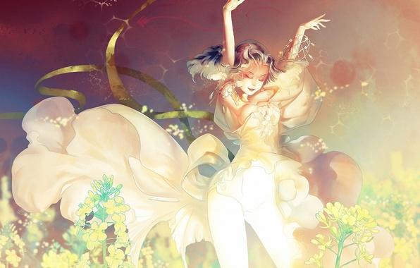 Picture girl, dance, art, blonde, curls