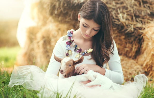 Picture girl, freckles, sheep, Marina, goat, Marina R