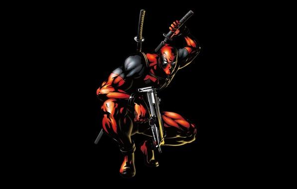 Picture weapons, gun, black background, marvel, comics, deadpool, heroes, ninja, super hero