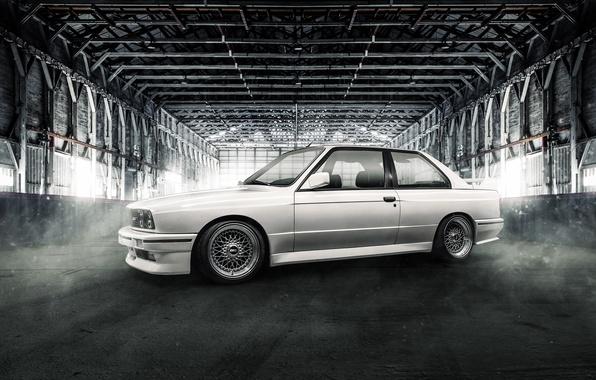 Picture BMW, white, coupe, E30, BBS