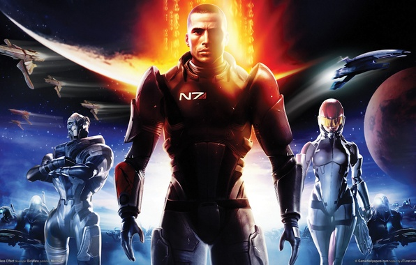 Picture planet, ships, soldiers, soldiers, Shepard, game wallpapers, N 7, Shepard, Mass effect