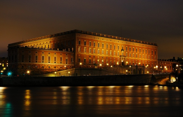 Photo wallpaper lights, night, promenade, Royal Palace, Stockholm, Sweden