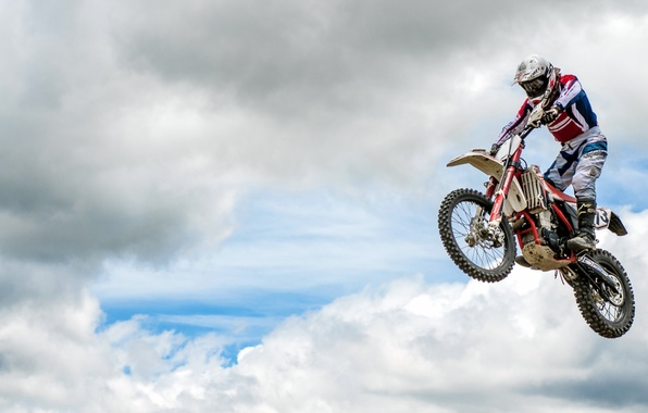 Picture the sky, jump, sport, motorcycle
