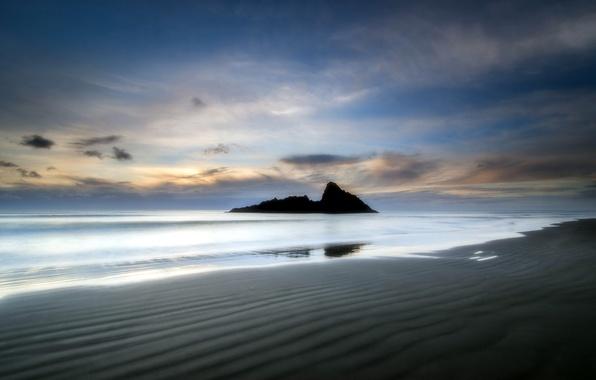 Picture sea, landscape, sunset, rocks