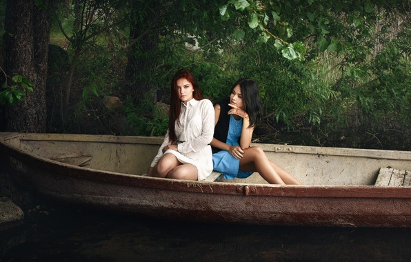 Picture legs, Anya, the beauty, two girls, Xenia, in the boat, Ivan Kopchenov