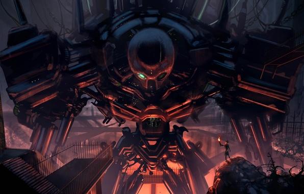 Picture metal, wire, people, robot, art, hangar, torch, giant, Loyvet Stone
