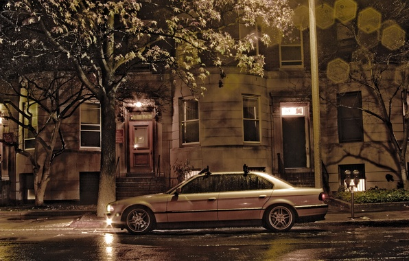 Picture night, the city, house, rain, overcast, street, lights, the building, Boomer, seven, e38, bumer, bmw ...