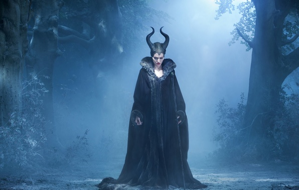 Picture forest, night, the film, horns, staff, witch, rod, Maleficent, the night, the forest, the witch, …