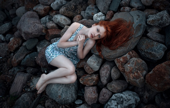Picture cold, girl, stones, freckles, legs, the beauty, redhead, George Chernyadev