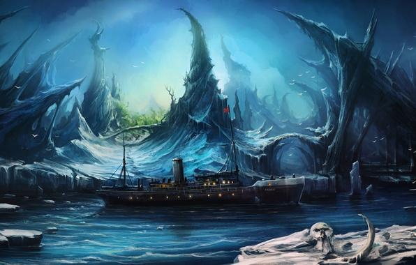Picture ship, sannikov land, Arctic Ocean, ghost island, The Sannikov Land