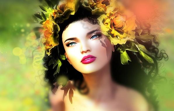 Picture girl, flowers, portrait, brunette
