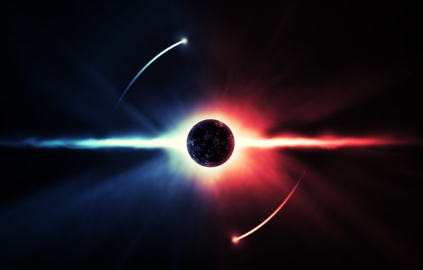 Picture energy, space, rays, planet, art