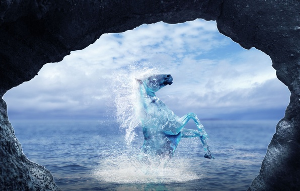 Picture water, squirt, rock, animal, horse, art