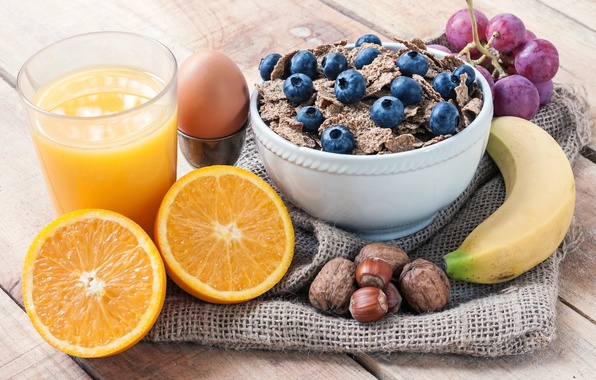 Picture glass, egg, orange, blueberries, juice, grapes, nuts, still life, banana, muesli