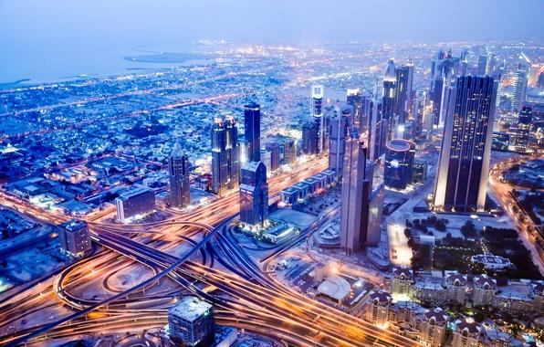 Picture building, road, panorama, Dubai, night city, Dubai, UAE, UAE