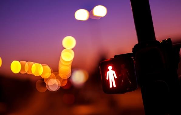 Picture macro, lights, yellow, traffic light, red, bokeh