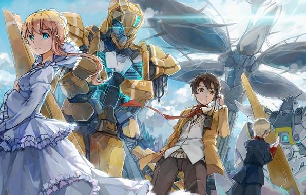 Picture girl, anime, robots, art, guys, aldnoah.zero, inaho kaizuka, asseylum vers allusia, slaine troyard, d.b.spark