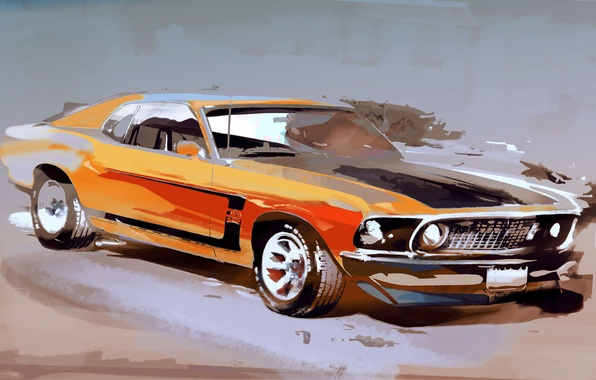 Picture machine, Mustang, ford, drawing