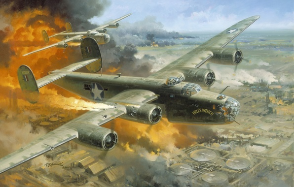 """Picture the city, the plane, fire, Romania, 1943 -- \""""Hell\'s Wench, Fire Over Ploesti by Roy …"""
