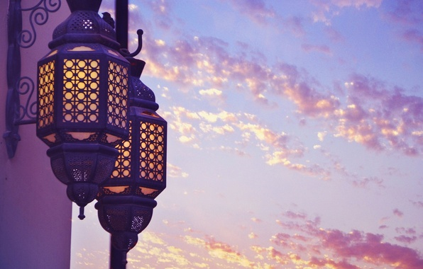 Picture purple, the sky, clouds, light, the city, background, widescreen, Wallpaper, mood, lantern, wallpaper, widescreen, background, …