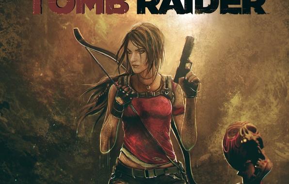 Picture girl, weapons, guns, the game, skull, bow, art, lara croft, tomb raider, Square Enix, Tomb …