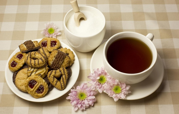 Picture flowers, tea, cookies, Cup, sugar, saucer