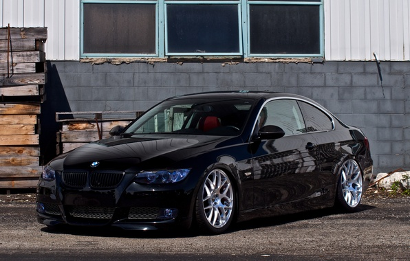 Picture reflection, black, the building, Windows, bmw, BMW, coupe, windows, black, front view, e92, building, 325i