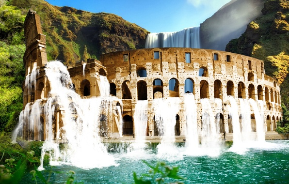 Picture greens, water, landscape, mountains, waterfall, Colosseum
