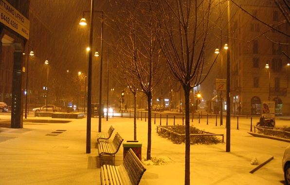 Picture snow, bench, night, the city, photo, lights, Italy, Milan