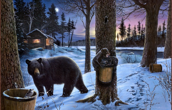 Picture winter, forest, nature, house, river, the moon, hut, bear, Picture, bears, Midnight snack, Ervin Molnar