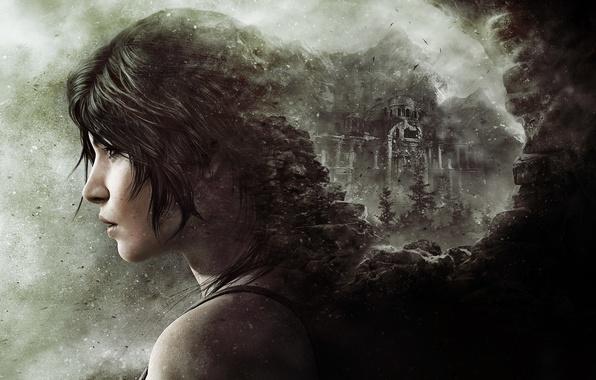 Picture girl, stones, hair, dust, lips, fortress, Lara Croft, shoulder, Square Enix, Lara Croft, Crystal Dynamics, …