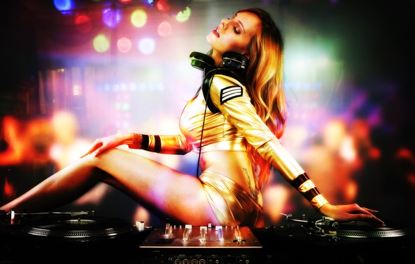 Picture girl, sexy, pose, passion, panties, remote, legs, DJ, the dance floor