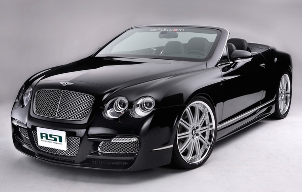 Picture black, Bentley, Machine, convertible, drives, on a gray background
