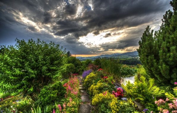 Picture greens, landscape, flowers, mountains, clouds, field, HDR, Switzerland, garden, track, forest, the bushes, Gommiswald