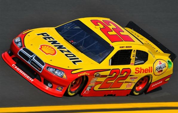Picture Yellow, Machine, Dodge, Race, Dodge, Track, NASCAR, Nascar
