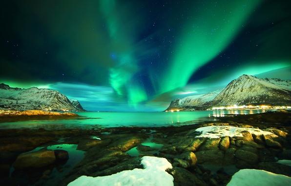 Picture sea, stars, snow, mountains, night, stones, Norway, Northern lights, Norway, The Lofoten Islands, Lofoten islands